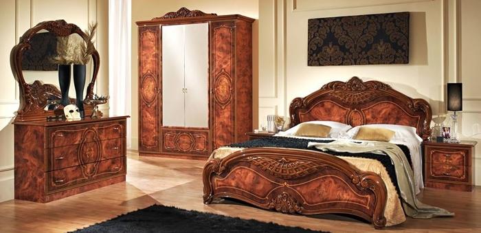 Спальный гарнитур Джульетта 6 предметов с  4-хдверным шкафом  цвет  орех 05 19